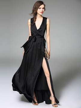 V-Neck Sleeveless Bowknot Split Maxi Dress