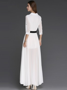 Lapel Half Sleeve Button Belt Maxi Dress