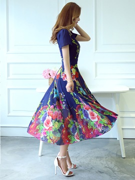 Floral Print Square Neck Short Sleeve Maxi Dress