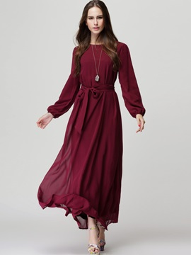 Solid Long Sleeve Lace-Up Ethnic  Dress