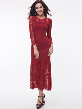 Nine Points Sleeve Lace Patchwork  Dress