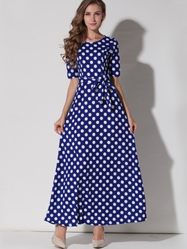 Polka Dots Half Sleeve Belt Maxi Dress