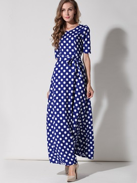 Polka Dots Half Sleeve Belt  Dress
