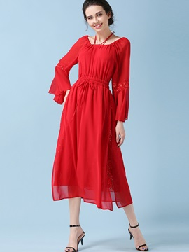 U-Neck Flare Sleeve Lace-Up Maxi Dress
