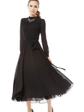 Solid Long Sleeve Vintage  Dress
