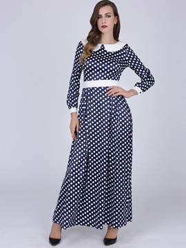 Polka Dots Peter Pan Collar Bowknot Maxi Dress