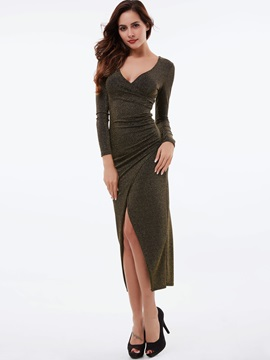 Pullover V-Neck Split Maxi Dress