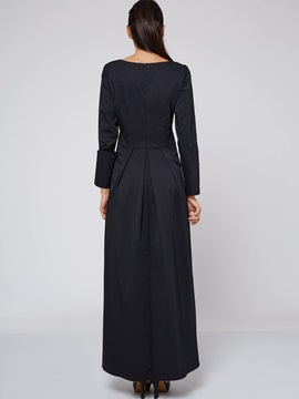 Solid Color Pullover Expansion Maxi Dress