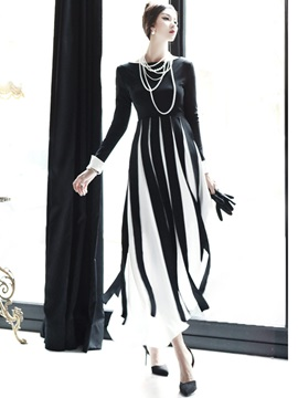 Vertical Striped Patchwork Expansion  Dress