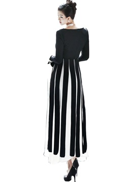 Vertical Striped Patchwork Expansion Maxi Dress