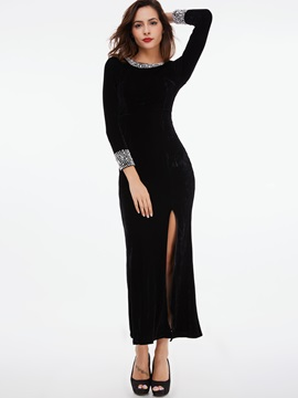 Round Neck Bead Zipper Maxi Dress