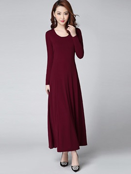 Solid Color Round Neck Expansion  Dress