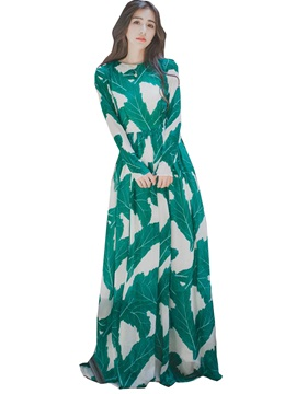 Print Expansion High-Waist Maxi Dress