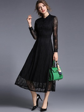 Stand Collar See-Through Patchwork Maxi Dres