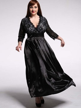 V-Neck Patchwork Expansion Plus Size Women's Maxi Dress