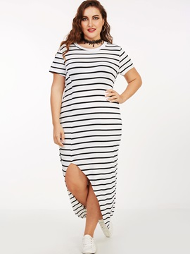 Vertical Striped Asymmetric Split Maxi Dress