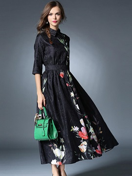 Polo Neck Print Patchwork Maxi Dress