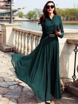 Stand Collar Single-Breasted Belt Maxi Dress