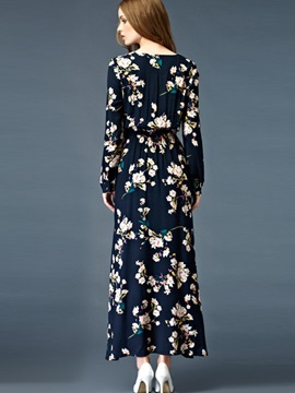 Single-Breasted Print Expansion Maxi Dress