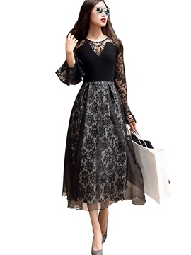 Flare Sleeve See-Through Expansion Lace Dress