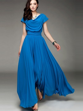 Elegant Draped Neckline Pleated Maxi Dress