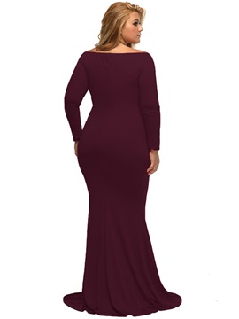 V-Neck Solid Color Mermaid Maxi Dress