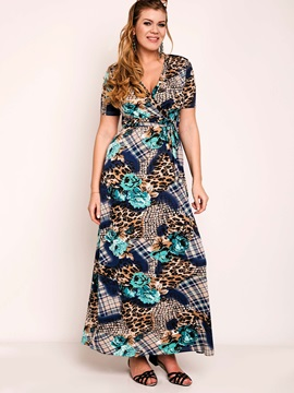 Floral Imprint V Neck Short Sleeve Maxi Dress