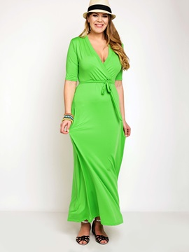 Multi-colored Short Sleeve Maxi Dress