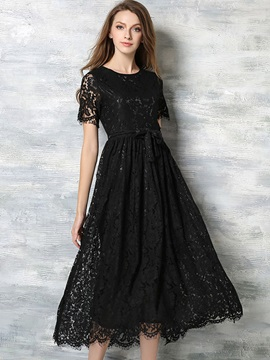 Solid Color Short Sleeve Maxi Dress