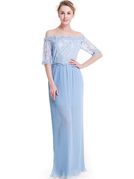 Sky Blue Boat Neck Maxi Dress