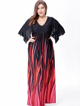V Neck Floral Imprint Plus Size  Dress