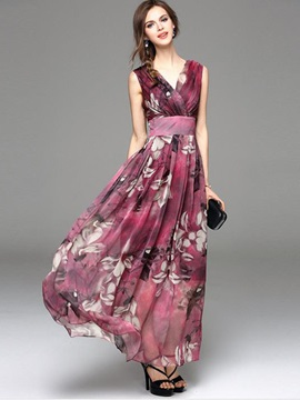 Floral Imprint V Neck Sleeveless Maxi Dress