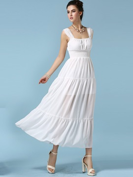 Simple Solid Color Sleeveless Maxi Dress