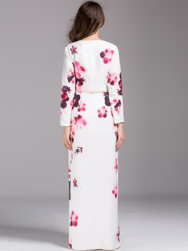 Flower Print Long Sleeve Split Women's Maxi Dress