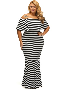 Stripe Boat Neck Plus Size Maxi Dress