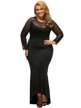 Sexy Long Sleeve Plus Size Maxi Dress
