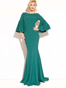 Pure Color Flare Sleeve Maxi Dress