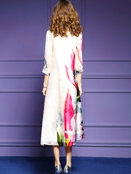 Floral Imprint Long Sleeve Chiffon Long Day Dress