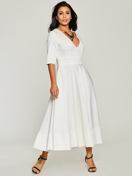 White V Neck Half Sleeve Women's Maxi Dress