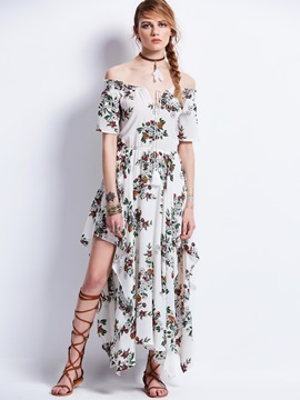 Slash Neck Flower Printing Women's Maxi Dress