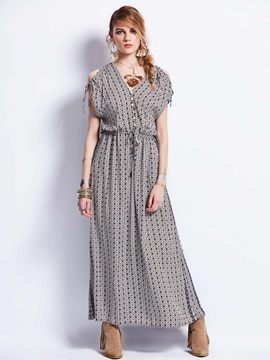 V-Neck Drawstring Batwing Sleeve Geometric Pattern  Dress