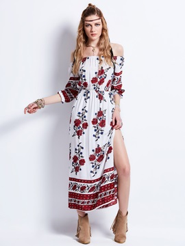 Slash Neck Flower Print  Dress