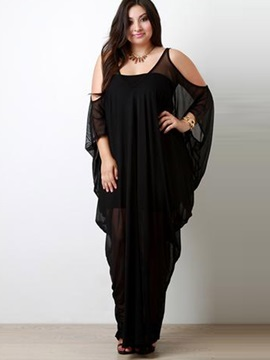 Black Open Shoulder Sleeve Maxi Dress