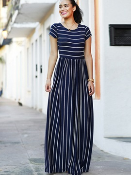 Casual Vertical Stripes Short Sleeve Maxi Dress