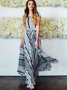 Vogue Vertical Stripes Short Sleeve Maxi Dress
