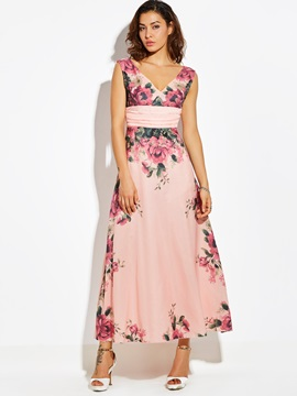 V-Neck Floral Print Sleeveless Women's Maxi Dress