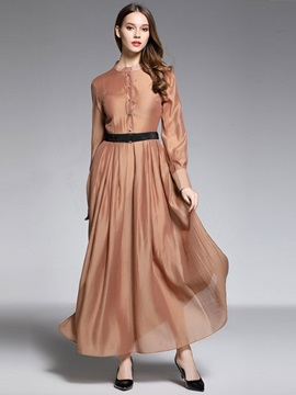 Vogue Solid Color Long Sleeve Maxi Dress
