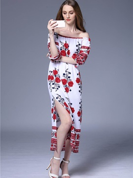 Boat Neck Floral Imprint  Dress