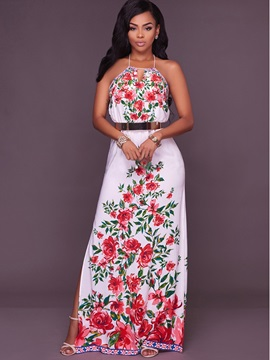 Floral Imprint Backless Maxi Dress