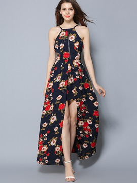 Floral Imprint Spaghetti Strap Maxi Dress